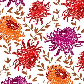 Chrysanthemum Bloom-Large Modern Floral Pattern