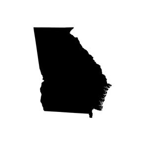 """Georgia silhouette in 18"""" square - black on white"""