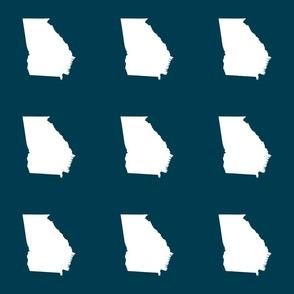 "Georgia silhouette in 6"" square - white on navy blue"