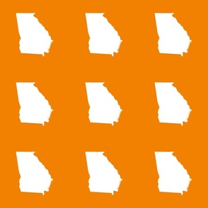 "Georgia silhouette in 6"" square - white on sunkissed orange"