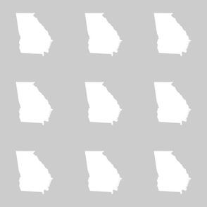 """Georgia silhouette in 6"""" square - white on silver grey"""