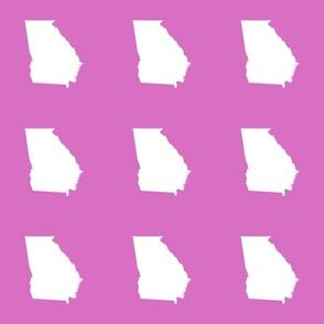 "Georgia silhouette in 6"" square - white on magenta pink"