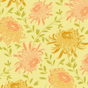 Chrysanthemum Yellow-Large Modern Floral Pattern