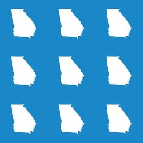 "Georgia silhouette in 6"" square - white on bright cyan blue"