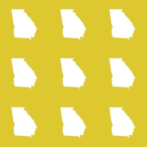 "Georgia silhouette in 6"" square - white on yellow"