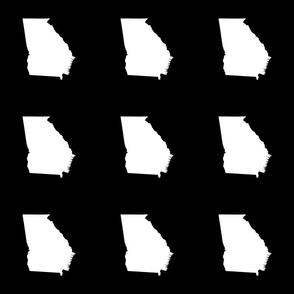 """Georgia silhouette in 6"""" square - white on black"""