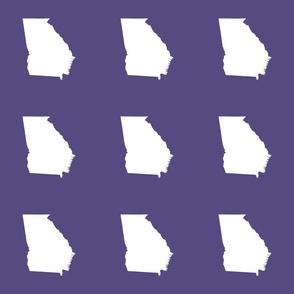 """Georgia silhouette in 6"""" square - white on purple"""