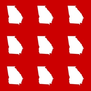 """Georgia silhouette in 6"""" square - white on football red"""