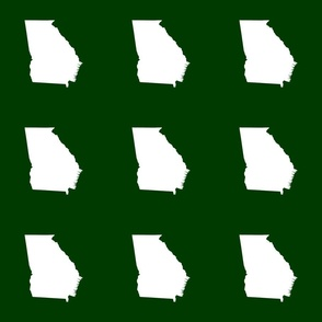 """Georgia silhouette in 6"""" square - white on forest green"""