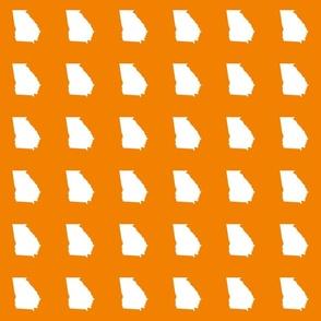 "Georgia silhouette in 3"" square - white on sunkissed orange"
