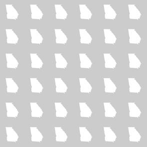 """Georgia silhouette in 3"""" square - white on silver grey"""