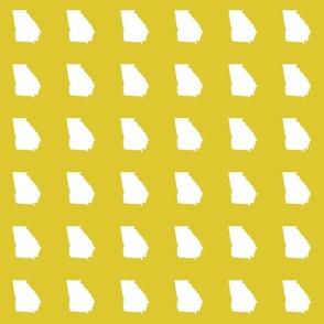 "Georgia silhouette in 3"" square - white on yellow"