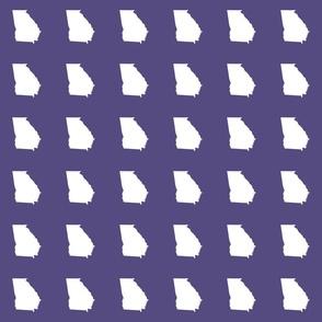 """Georgia silhouette in 3"""" square - white on purple"""