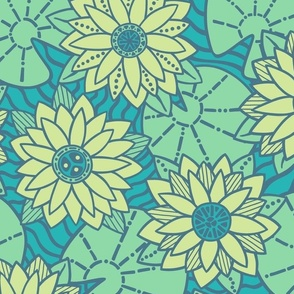 Imaginary Water Lilies - Colorway 2