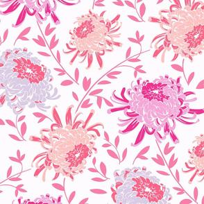 Chrysanthemum Pink-Large Modern Floral Pattern