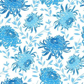 Chrysanthemum Blue-Large Modern Floral Pattern