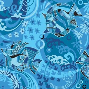 Soft Blue Lagoon-Modern Tropical Marine Life-Tropical Fish