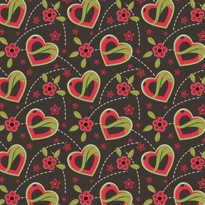 Juicy Red Hearts & Flowers