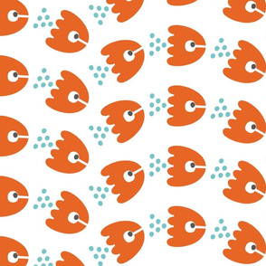 Abstract Sea Animals in Red