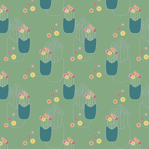 Lollipop Flowers on teal