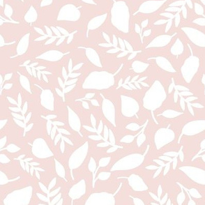 Hand drawn leafy in pale pink large