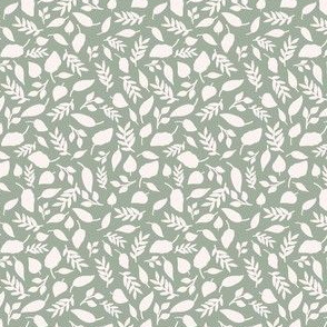 Hand drawn leaves  in sage small