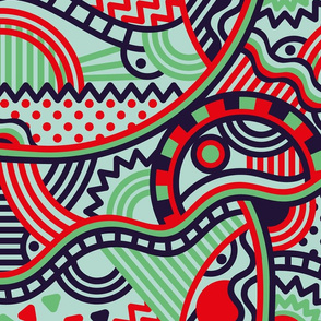 Geometric pattern in red and blue