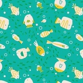 Retro inspired overprint fishies