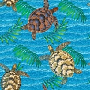 Sea turtle and palm leaves