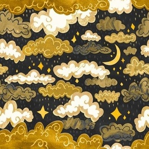Midnight Ochre Rainclouds - Golden - Small Scale