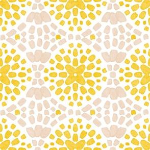 Mosaic tile yellow pink