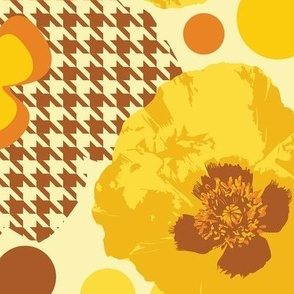 Oriental Poppy Yellow -Mid Century Modern Large Scale Yellow Florals