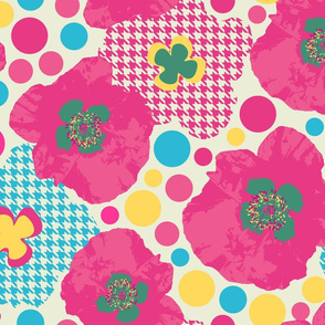 Oriental Poppy Pink-Mid Century Modern Large Scale Pink Tartan Florals
