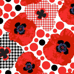 Oriental  Poppy Red-Mid Century Modern Large Scale Florals