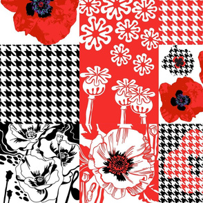 Oriental Poppy-Patchwork-Large Scale