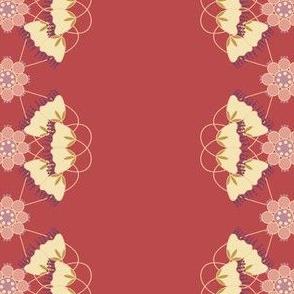 Floral Stripe Over Cranberry
