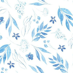 Blue watercolour botanicals - tossed
