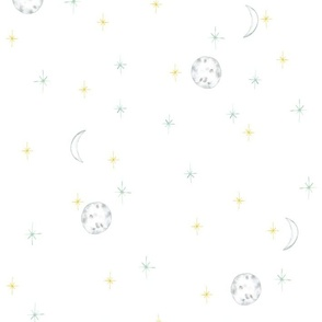 Moon and stars on white