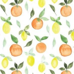 Watercolour oranges and lemons
