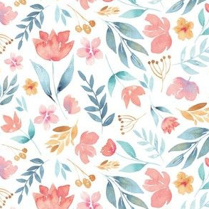Pink blue and mustard watercolour florals
