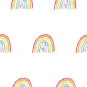 Watercolour rainbow half drop