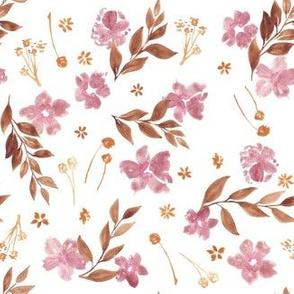 Warm neutral florals in watercolour