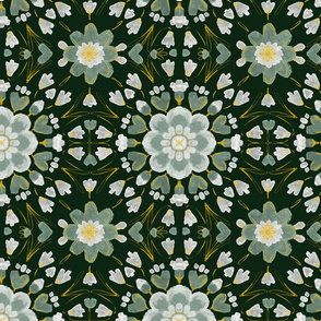 Floral tile on Dark green