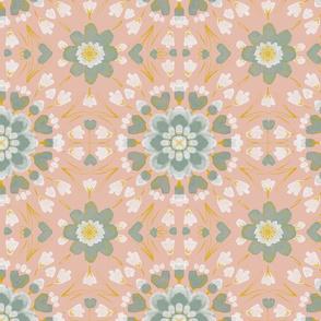 Floral tile on pink
