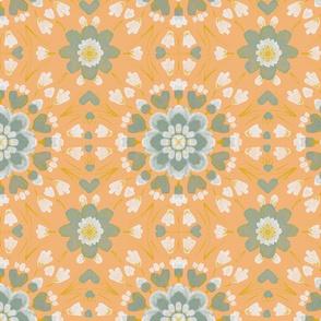 Floral tile on tangerine
