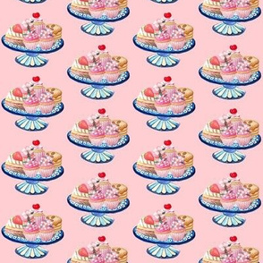 summer cakes on vintage china pink