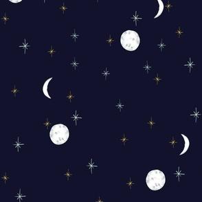 Moon and stars Navy