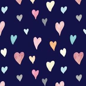 Watercolour Hearts on Navy