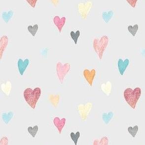Watercolour Hearts on Grey