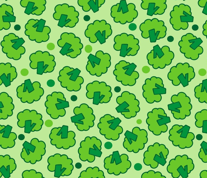 Green seamless pattern with broccoli. Repeat pattern design.